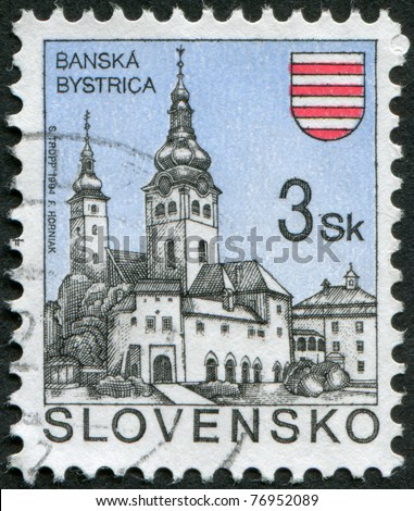 SLOVAKIA - CIRCA 1994: Postage stamp printed in Slovakia, represented the town Banska Bystrica, circa 1994
