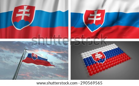 Slovakia 3D Flag, Slovakian Abstract Flag Background (3D Render Art)