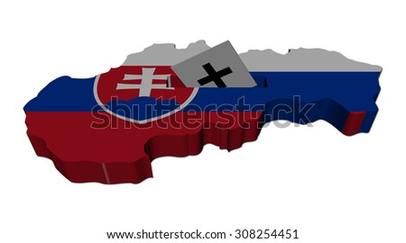 Slovakia election map with ballot paper illustration - stock photo