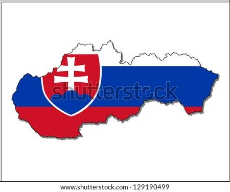 slovakia map flag - stock photo