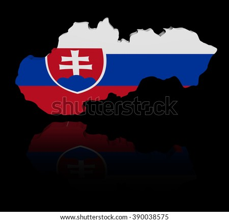 Slovakia map flag with reflection illustration - stock photo