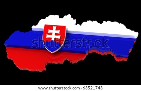Slovakia, map with flag, with clipping path, 3d illustration, isolated on black