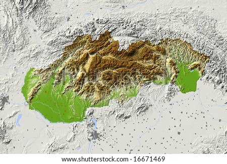 Slovakia. Shaded relief map with major urban areas. Surrounding territory greyed out. Colored according to elevation. Includes clip path for the state area. Data source: NASA - stock photo
