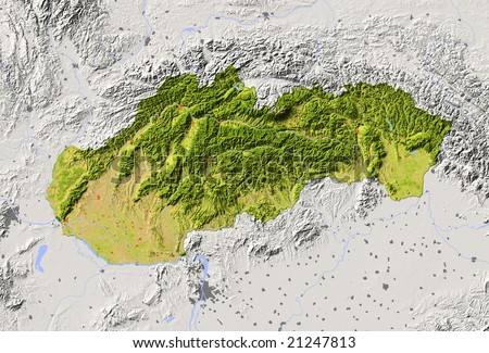 Slovakia. Shaded relief map with major urban areas. Surrounding territory greyed out. Colored according to vegetation. Includes clip path for the state area. Data source: NASA - stock photo