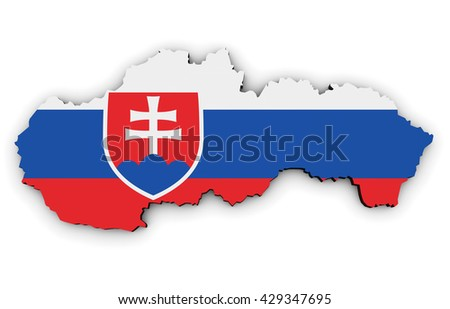Slovakia shape and map with Slovakian flag symbol 3D illustration isolated on white background.