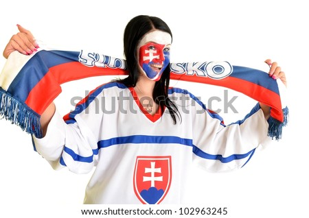 slovakian fan - stock photo