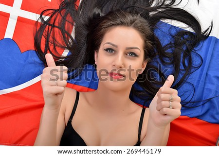 Slovakian fan  - stock photo