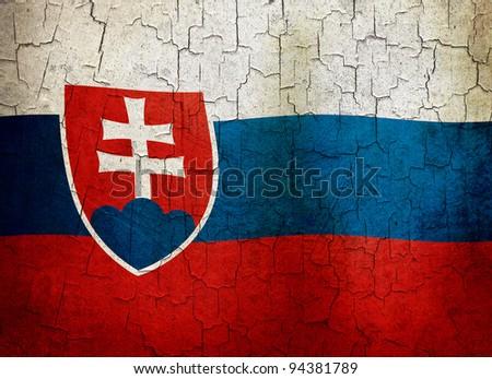 Slovakian flag on a cracked grunge background - stock photo
