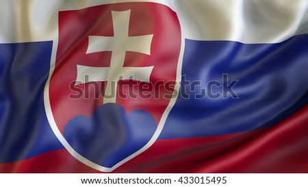 Slovakian national flag waving in the wind 3d rendering - stock photo