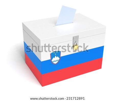 Slovenia ballot box with Slovene Flag. Isolated on white background. - stock photo