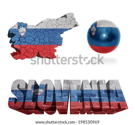 Slovenia flag and map in different styles in different textures