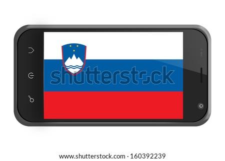 Slovenia flag on smartphone screen isolated on white - stock photo