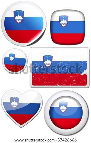 Slovenia - Glossy and colorful stickers with reflection set - stock photo