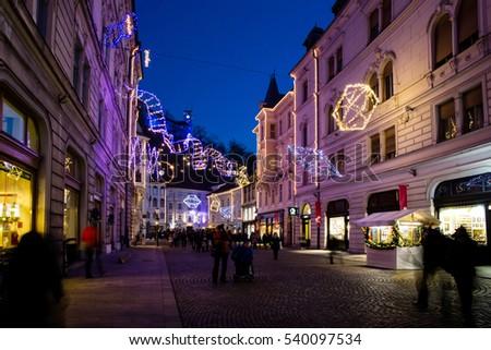 SLOVENIA, LJUBLJANA   DECEMBER, 2016: Old City Town Center With Wonderful  Christmas Lights