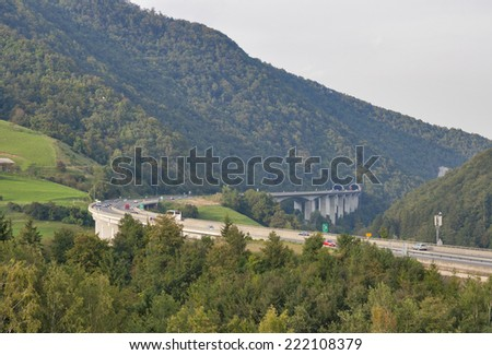 Slovenia mountain highway with Tunnel Bare Rib