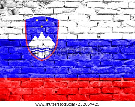 Slovenian Flag  painted on brick wall	           - stock photo