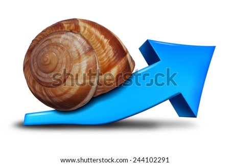Slow business growth financial symbol as a blue three dimensional arrow pointing up shaped as a snail for the concept of sluggish profit gains or the economy slowly recovering. - stock photo