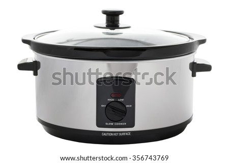Slow cooker on an isolated white background with a clipping path - stock photo