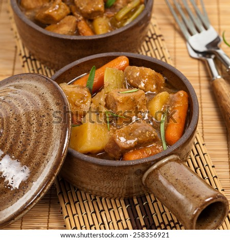 Slow Cooker Pork Stew. Selective focus. - stock photo