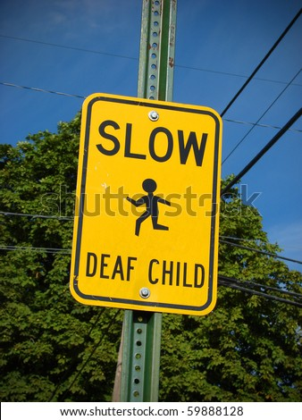 slow deaf child sign - stock photo