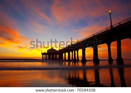 Slow exposure of a spectacular sunset over the Manhattan Beach Pier - Los Angeles, California. - stock photo