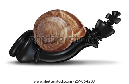 Slow leadership business concept as a chess king piece shaped as a snail representing the metaphor of agility loss and  reacting slowly to economic change and an inability to respond to competition. - stock photo
