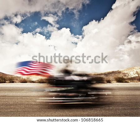 Slow motion on motorbike, blur movement on bike rider, motorcycle road trip, summer US tour ride, people traveling on countryside highway, freedom lifestyle - stock photo