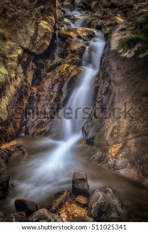 Slow Motion waterfall in the Wasatch mountains in Utah USA.