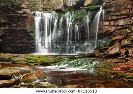 Slow shutterspeed photo of Elakala falls in Blackwater State park in West Virginia - stock photo