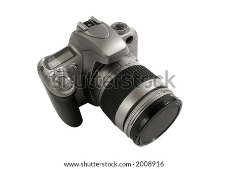 SLR Camera isolated over white background (clipping path included) - stock photo