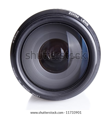 Slr camera lens closeup with a slight reflection beneath - stock photo