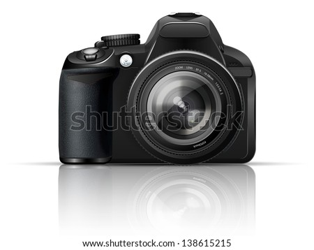 SLR camera on a white background with the reflection of the - stock photo