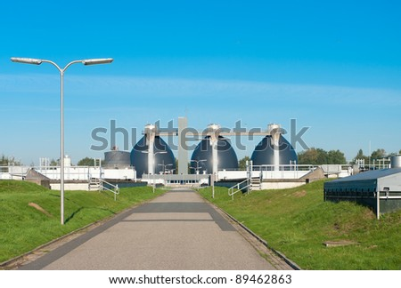 sludge digestion installation on a waste water plant. Here is methane produced and used for the energy supply for the plant - stock photo