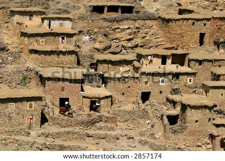 Slum - mountain village in Morocco - stock photo