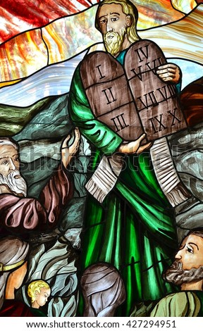 SLUPSK, POLAND - 21 MARCH 2016 - Prophet Moses with stone boards - stock photo