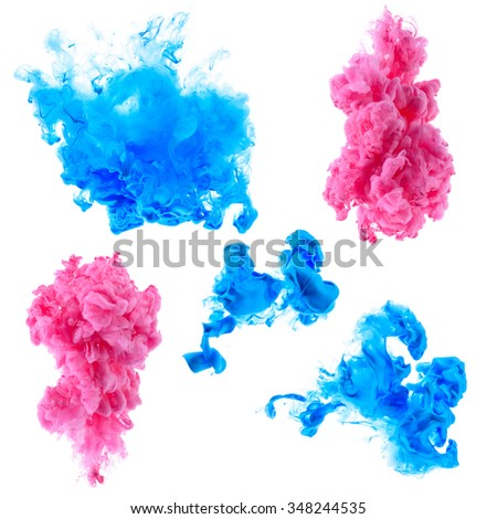 Small abstract ink clouds in water isolated on white