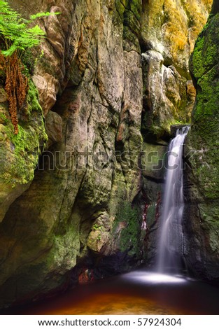 Small adrspach waterfall - stock photo