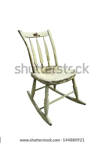 small aged wooden rocking chair on a white background