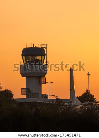 Small Air Traffic Control Tower as a Symbol for Holiday Feeling - stock photo