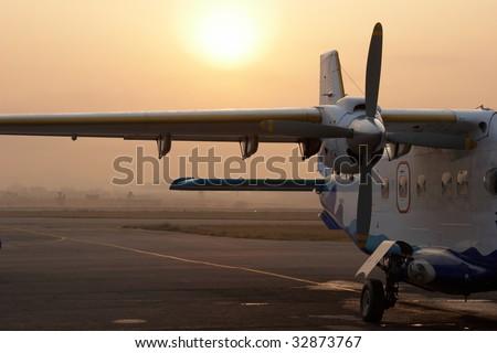 Small airplane in Kathmandu airport, Nepal - stock photo