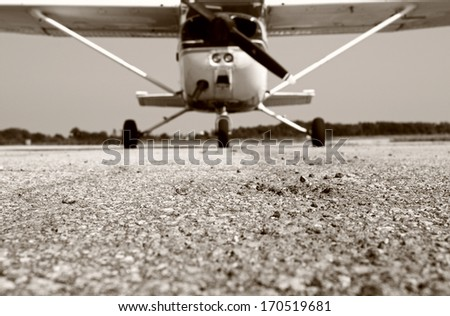 Small Airplane, Low Angle - stock photo