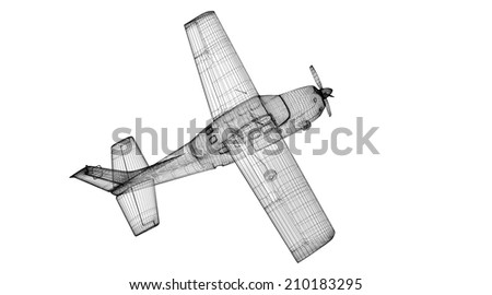 Small  Airplane , model body structure, wire model