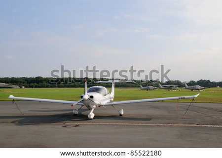 Small airplane Small airplane standing at the runway - stock photo