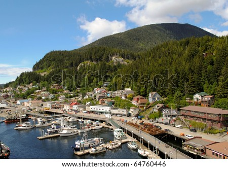 small alaskan port city - stock photo