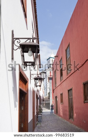Small alley in a authentic village on the Isle of Tenerife one of the Canary Islands - stock photo