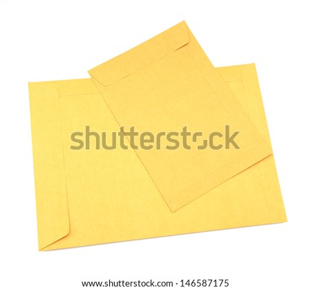 small and big brown envelope on white background - stock photo