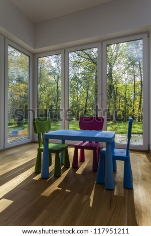 Small and colorful furniture for children - stock photo