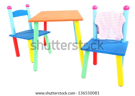 small colorful table chairs little kids stock photo 139583903 shutterstock. Black Bedroom Furniture Sets. Home Design Ideas