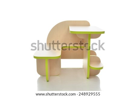 Small and colorful table desk for little child kids isolated on a white background - stock photo