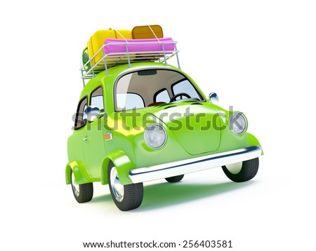 small and cute green retro trip car on white background - stock photo